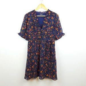 Madewell | Floral Print Chiffon Ruffle Dress